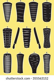 Vector set of doner kebabs in silhouette mode