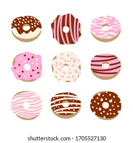 Vector set of donuts with different tastes. Isolated on white. Strawberry, chocolate and vanilla tastes. Sweets illustration. Dessert set. Cartoon style.