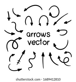 Vector set of doodle arrows on white background. Handmade by brush and pencil. Grunge design elements. Hand drawn