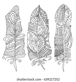 Vector set of doodle art feathers isolated on background