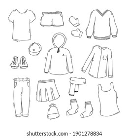 Vector set of doodle clothing elements. Shirt, sneakers, scarf, trousers, mittens, socks. Collection of modern decorative elements.