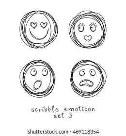 Vector set of doodle emoticons and emoji. Hand drawn scribble icons. Cute linear design element. Black and white illustration for print, web