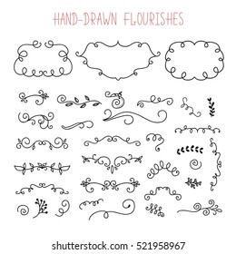 Vector Set of Doodle Frames and Borders. Handdrawn elements, flowers, branches, swashes and flourishes. Sketched clipart.