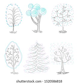 Vector set of doodle hand drawn winter trees, cartoon park collection