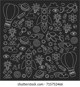 Vector set of doodle icons Blackboard chalk background - creativity and inspiration, idea and imagination, innovation and discovery, think outside the box
