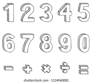 Vector Set of Doodle Sketch Figures and Mathematical Signs. Hand Drawn Arabic Figures From One till Nine.