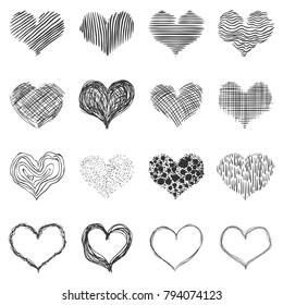 Vector Set of Doodle Sketch Hearts. Abstract Love Icons