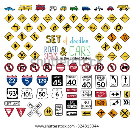 Vector Set Doodles Road Signs Vehicles Stock Vector Royalty Free