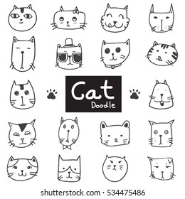 Vector set of drawing cute cat heads in doodle black line on white background