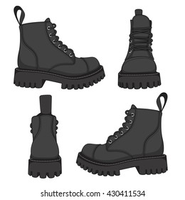 Vector set of drawings with black boots. Isolated objects on a white background.