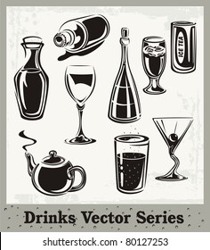 Vector set of drink and beverage illustrations in black and white.