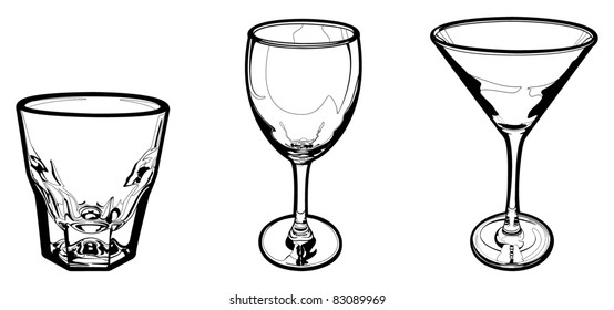 Vector Set of Drinking Glasses (Shot Glass, Wine Glass, Martini Glass).