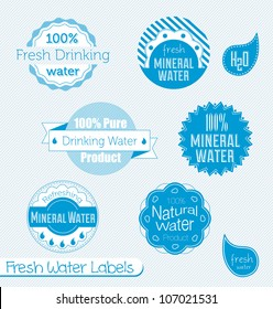 Vector Set: Drinking and Mineral Water Labels