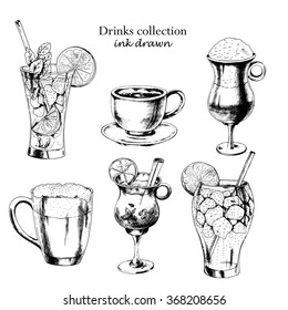 Vector set of  drinks: coffee espresso, coffee Latte, beer, mulled wine, mojito, long island. Hand drawn illustration in ink, sketch style.