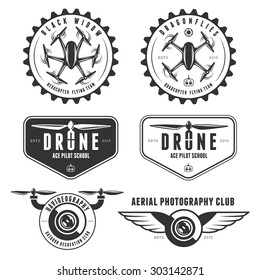 Vector set of drone flying club labels, badges and design elements.