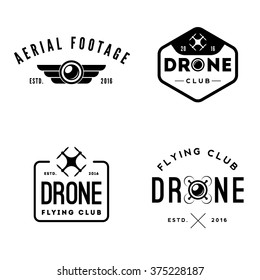 Vector set of drone flying club labels and badges
