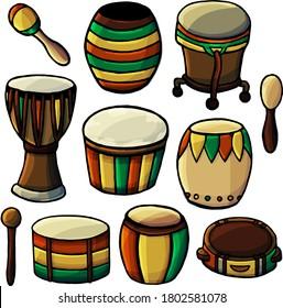 Vector set of drums and tambourines, cartoon style, drum tambourine, Tambourine, Dhol, Dumbek, Buk, Taiko, Bangu, Ashiko, Bugarabu, Djembe, Atabake, Ashiko, Bongo, musical instrument, drum, traditions