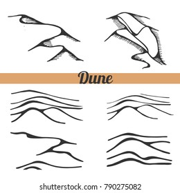 Vector set of dune. Sketch illustration