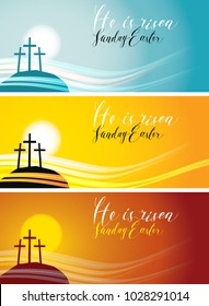 Vector set of Easter banners with handwritten inscriptions He is risen, Sunday Easter, with mount Calvary and crosses at sunset