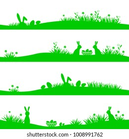 Vector set of Easter banners with silhouettes of eggs, rabbit and grass. Design element isolated on white background. Illustration can used for banners, cards, letters, web and other