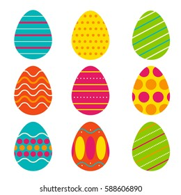 Vector set of Easter eggs. Easter design element.