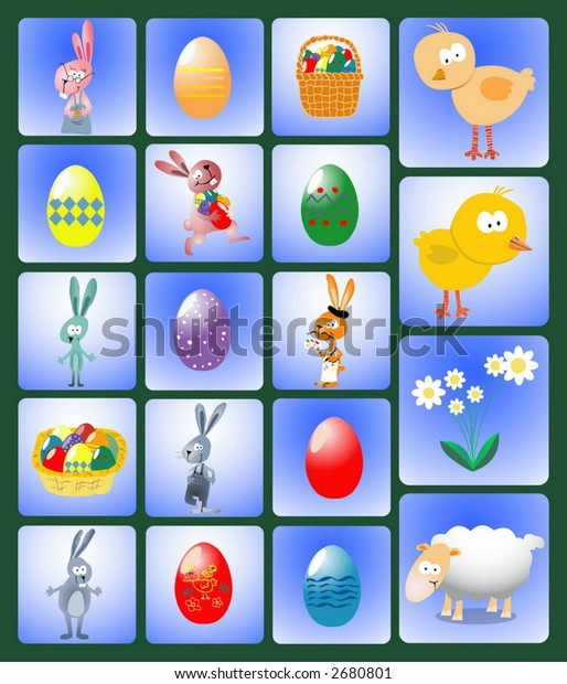 Vector set of Easter symbols, icons