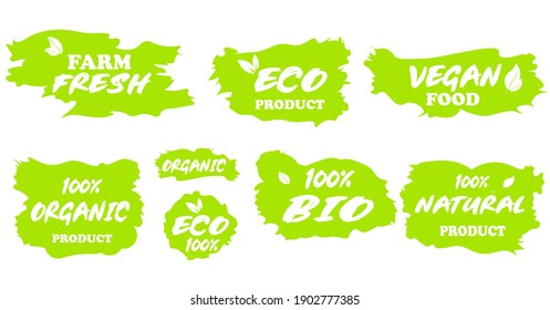 Vector set of eco, bio, natural organic, fresh, 100 percent ecologically pure, healthy, vegan, food. Sticker, emblem, label for product packaging. Collection of bright greens, illustrations.