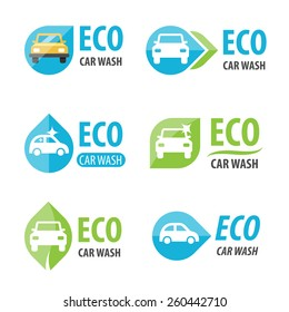 Vector set of eco car wash logotypes. Eps 10.
