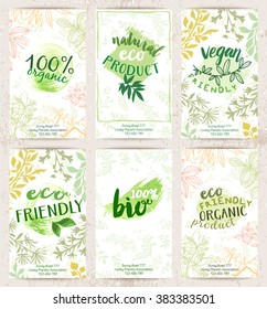 Vector set of eco friendly food labels on the stylish brochures. Packaging tags with fancy cards designs for bio, healthy products. Fresh ecological posters.