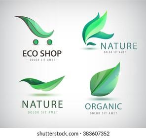 Vector set of eco logos, leaves organic nature logos. Bio energy organic shop logo, icon isolated. Green logos, healthy life