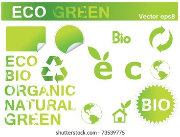 vector set of ecology icons and stickers eps8