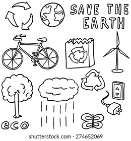 vector set of ecology and recycle icon