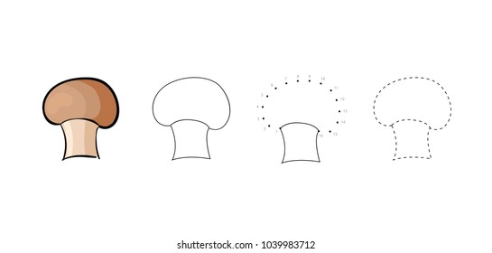 Vector set of edible brown mushrooms kids drawing. Child vegetables educational game page.