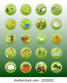 Vector set of editable icons, buttons and symbols (Farm)