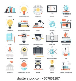 Vector set of education and knowledge flat web icons. Illustration graphic design concepts. Modern flat icon style. Symbols for mobile and web graphics. Logo creative concepts