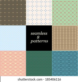 Vector set of eight seamless patterns