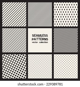 Vector set of eight seamless patterns. Monochrome geometric patterns. Simple striped textures, backgrounds with rhombuses and squares