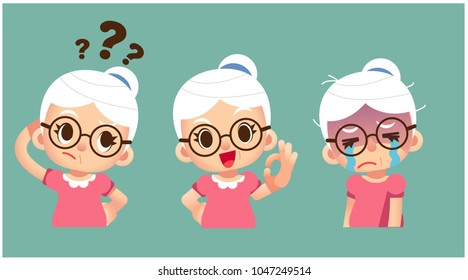 Vector set of elderly women character in different action poses isolated on white background