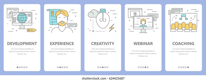 Vector set of e-learning concept vertical banners. Development, experience, creativity, webinar and coaching concept elements. Thin line flat design symbols, icons for website menu, print.