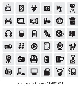 vector set of electronic devices on gray