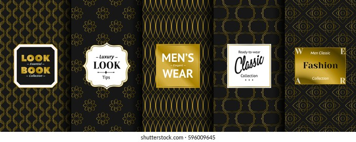 "Vector set of elegant golden ornaments with labels ""Look Book — Essential Collection"", ""Luxury Look Tips"", ""Men's Elegant Wear"", ""Ready-to-wear Classic Collection"", ""Men Classic Fashion Collection"""
