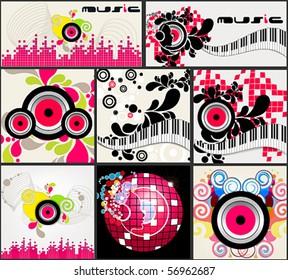 Vector set of elegant music backgrounds