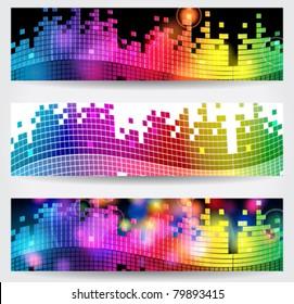 Vector set of elegant music themed web banners
