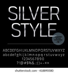 Vector set of elegant silver alphabet letters, numbers and punctuation symbols. Compact normal style