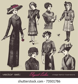 vector set: elegant vintage ladies (and girls) - variety of retro fashion illustrations and portraits