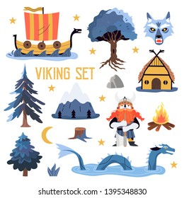 Vector set with elements associated with vikings and their lifestyle, myths and traditions isolated on a white background. Cute illustration for kids of Yggdrasil, fenrir, dragon, viking, drakkar.
