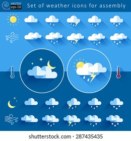 vector set of elements for creating weather icons. flat style