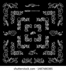Vector set of elements for design. Chalkboard square corners and frames. Flowers, ear of wheat, leaves elements, white on black background. Vintage style. New and Different elements in each set. Set 7