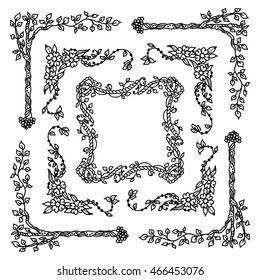 Vector set of elements for design. Square, rectangle corners and frames for coloring decor. Branch, leaves, trees, flowers, ivy, vine, daisy, lily, line, swirl, grass. Vintage doodle style, black line