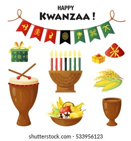 Vector set of elements on Kwanzaa celebration